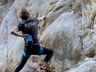 Matthew Grunewald on FA of Stoned Toad (31), at Frog Rock - 2020.