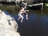Jumping off rock at Windmill Hole