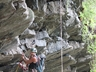 Howieson's Poort Rock Climbing,  Keith James reving it up during the re-bolt