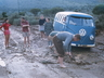 Jack Wallace's Kombi on the way back from a snowed out Cockscomb in 1958. This is the first Kombi built on the VWSA line in Uitenhage. Photo courtesy Mike Streeter.