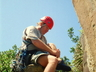 Allen Luck rock climbing at Hole in The Wall, Transkei ~ 2002