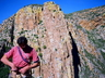 Dricus Bezuidenhout at top of Fifi Buttress ~ 2001 Photo thanks to Martin Rehm (Fritz) collection.