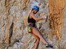 Elmarie Ebbers climbing Passion Rules the Game (23) at Naga'skloof, 2020, photo thanks to Brian.