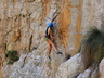 Elmarie Ebbers climbing Passion Rules the Game (23) at Naga's Kloof, 2020, photo thanks to Brian.