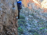 Ruben Snyman climbing the pinnacle next to the road. Photo thanks to Terence Trevaskis.