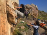 Sharifa Modise on the bouldering event of the Petzl Rock 'n Road Trip 2009. Photo thanks to Martin Renz collection.