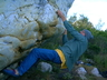 Dricus Bezuidenhout bouldering on the Slipper 2002, pic thanks Eric De Beer.