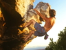 Andy Wesson bouldering on After Dinner Mint in about 1993, photo thanks to Andy Wesson collection.