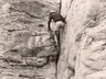 Eric Manson climbing the classic Piton Crack 1952, Photo by Ian Philips, courtesy Rob Mac Geoghan collection.